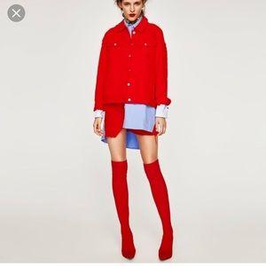 Zara Red Knit OTK boots